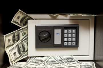 steel electronic home safe with money