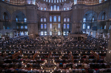 Muslim Friday prayer, blue mosque Turkey