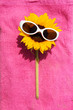 funny sunflower with sunglasses on a towel relaxing