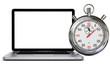 Laptop mit Stoppuhr