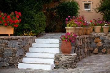 Stairs in the greek garden