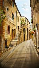 Старые здания в типичный средневековый итальянский город - иллюстрации