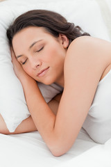 Close-up of an attractive young woman sleeping