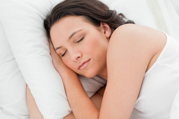 Close-up of an attractive woman sleeping