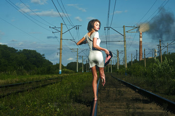 on railway tracks