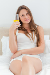 Beautiful woman with a glass of juice