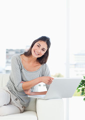 Happy woman buying online
