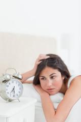 Half asleep brunette needs to wake-up