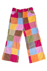 trousers, made of colorful squares, fabric patchwork.