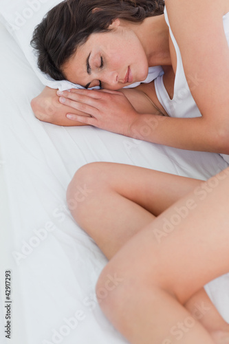 Close-up of a cute brunette sleeping