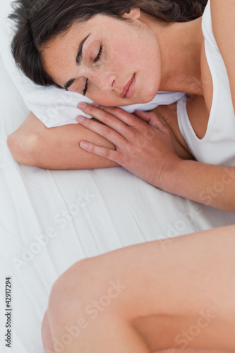 Close-up of a beautiful brunette sleeping