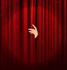 female hand disclose the scene shifting the red curtain