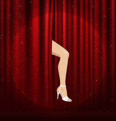 vector ilustration. red curtain with the female foot