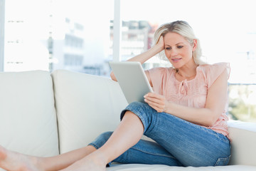 Blonde using a touch pad