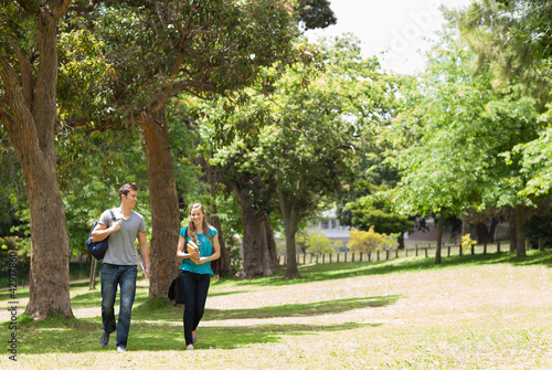 Couple of student walking