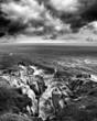 bw stormy ocean