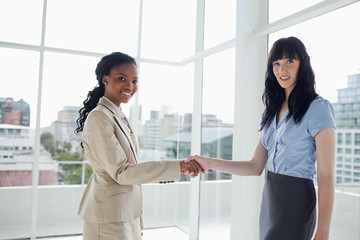 Two serious businesswomen shaking hands while smiling
