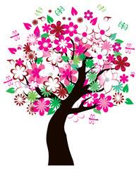 vector floral tree with insects