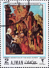 Postage stamp Ajman 1970 Adoration of the Magi by Albrecht Durer