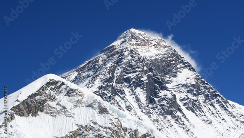 Mt Everest (8850m) in the Himalaya, Nepal.