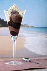 Ice cream with chocolate