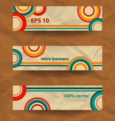 set retro banners, vintage style