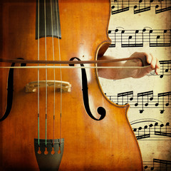 Double bass on musical score