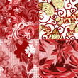 Set of abstract floral seamless patterns