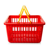 An empty red plastic shopping basket on a white background