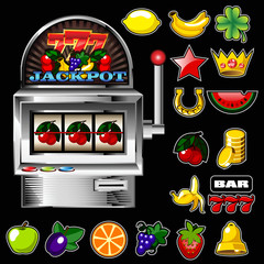 A vector slot fruit machine with cherry winning on cherries and