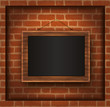 blackboard wood frame brick wall