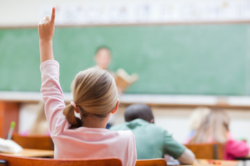 Elementary student with her hand raised