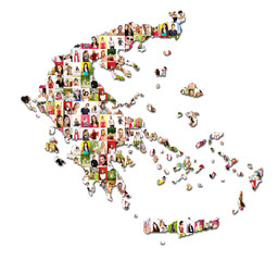 map of greece with a lot of people portraits