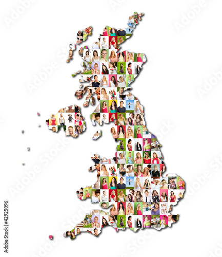 map of great britain with a lot of people portraits