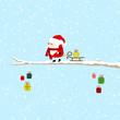 Santa Pulling Sleigh Green Gift On Tree Blue