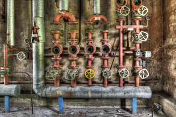 Industrial boiler room in a derelict factory