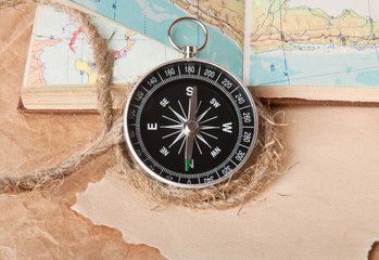 compass and a map of the rope on a light background