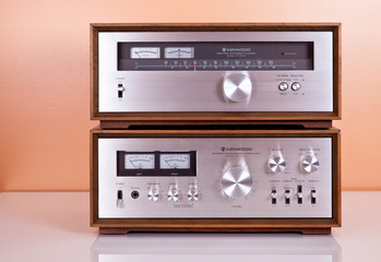 Vintage Stereo Amplifier and Tuner in Wooden Cabinets