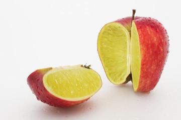 Apple containing a lemon