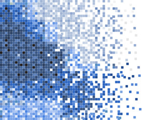 abstract blue pixel mosaic vector background illustration
