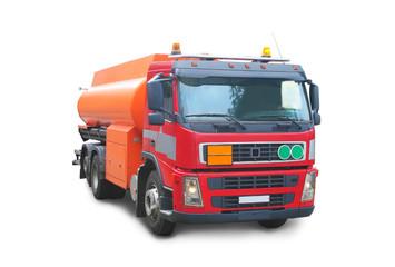 Red gasoline tank truck