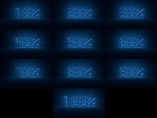 procenty niebieski neon