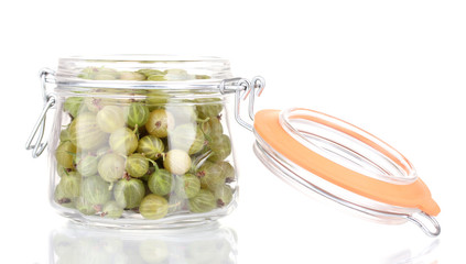 Green gooseberry in jar isolated on white