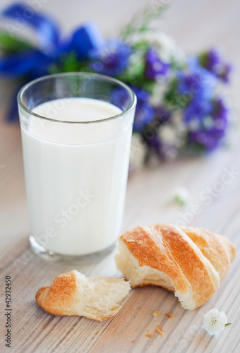 Croissant and glass of milk