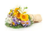 Fototapety beautiful bouquet of bright  wildflowers, isolated on white