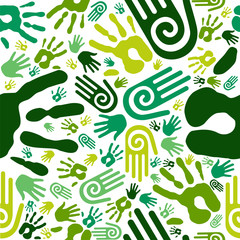 Go green hands seamless pattern