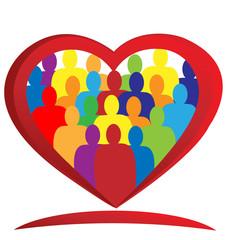 Teamwork heart people logo vector