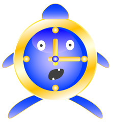 Alarm clock blue with surprise on his face.