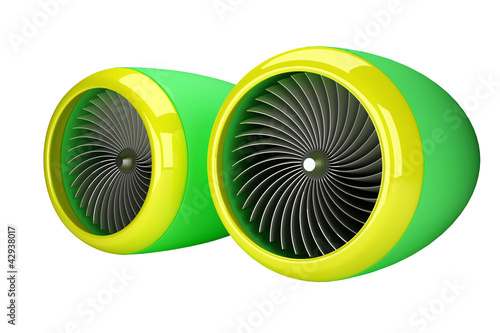 Jet engine turbines isolated on white background 3d render