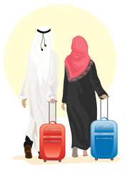 arab couple with suitcase